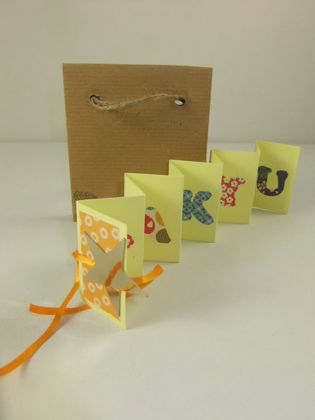 i 'Gold Star' Mini Thank You Zig Zag Card