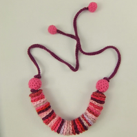 Crochet Necklace - 'Berry Sundae'