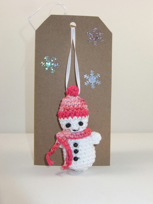Snowman Decoration Card (Pinks)