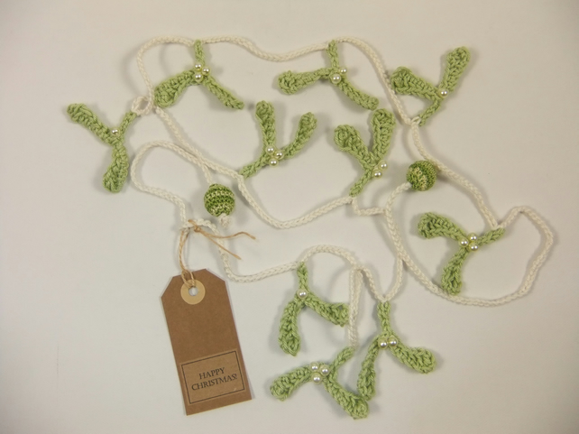 Mistletoe Garland  on Cream String