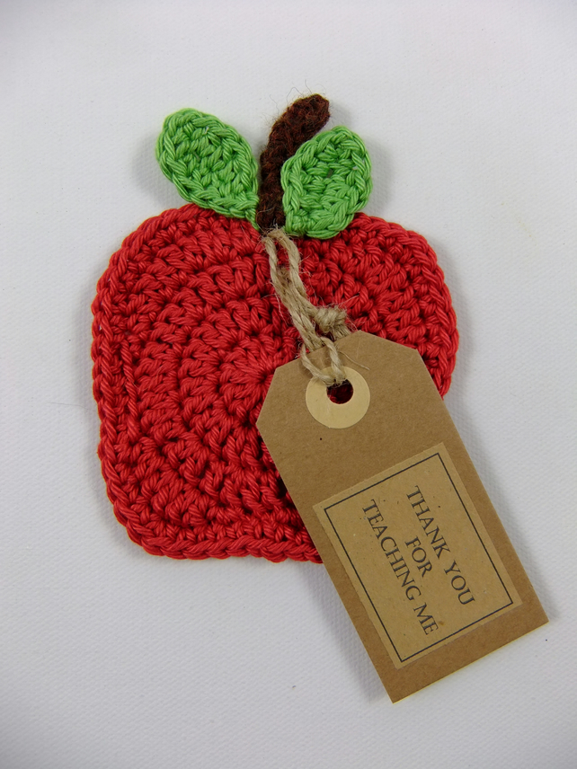 'Thank You for Teaching Me' Crochet Apple Coaster