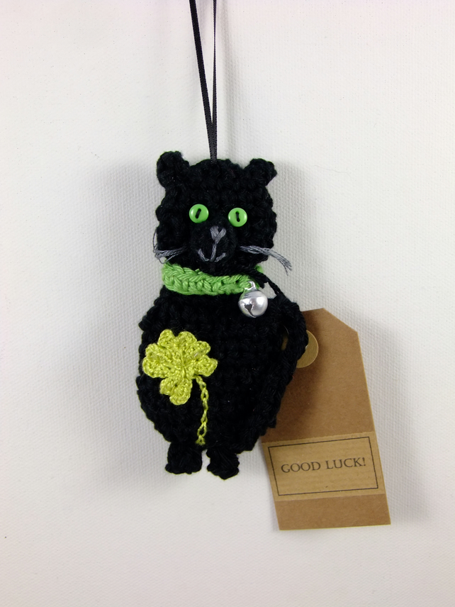 Crochet Good Luck Cat With Clover