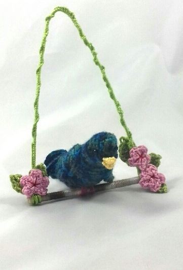 Crochet Songbird with Cherry Blossom