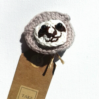 Crochet Sloth Brooch  with Tag