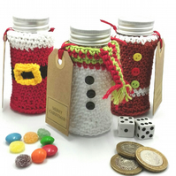 3 Crochet Covered Christmas Gift Pots