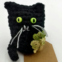 Lucky Crochet Cat With Four Leaf Clover