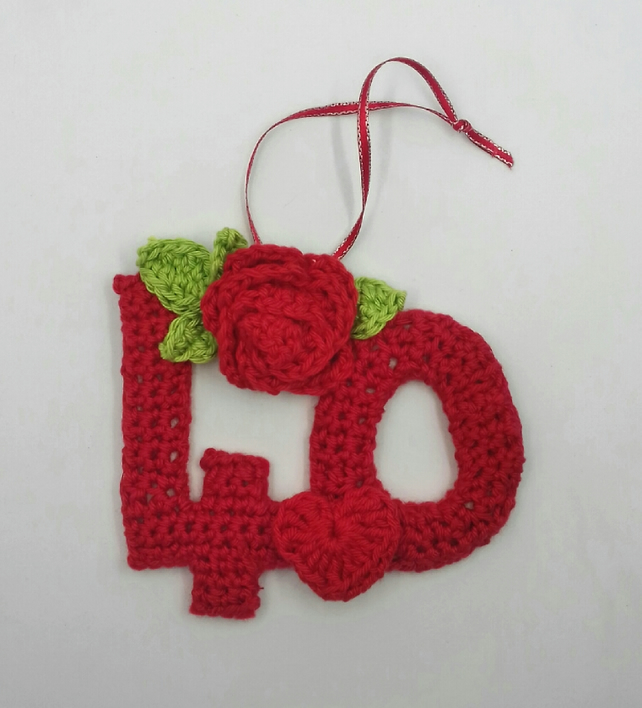 Reserved for Beth Ruby Anniversary Crochet  Hanger