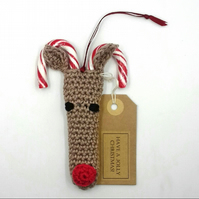 Crochet Rudolph Candy Cane Decoration
