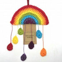 Crochet Rainbow and Rainbow Droplets  Hanger