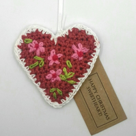 Crochet Gingerbread Heart Tree Decoration