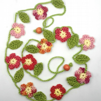 Crochet Flowers Garland in Pink, Orange and Coral