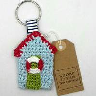 Crochet Beach Hut Key Ring - New Home