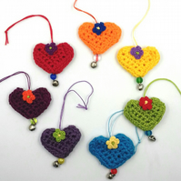 Crochet Rainbow Heart Decorations