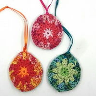 Three Crochet Granny Eggs