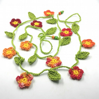 Crochet Flowers Garland in Spicy  Colours