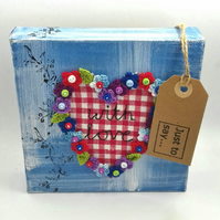 Canvas with Fabric Heart and Crocheted Flowers