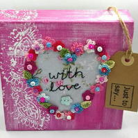 Canvas with Crochet Flowers and Fabric Heart