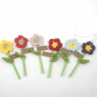 Six Crochet Parcel Flowers