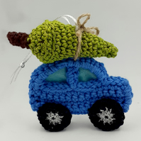 Crochet Car with Tree Decoration -  Driving Home for Christmas