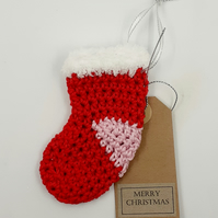 Red Crochet Stocking Decoration - Alternative to a Card