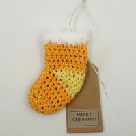 Yellow Crochet Stocking Decoration  - Alternative to a Card