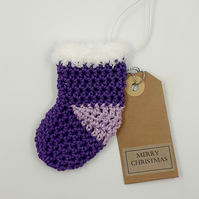 Purple Crochet Stocking Decoration  - Alternative to a Card