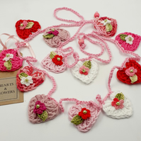 Mini Hearts and Flowers Crochet  Garland