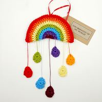 Crochet Rainbow and Raindrops  Hanger