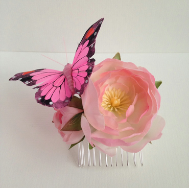 Rose and Butterfly Hair Comb
