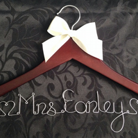 Personalised Wedding Gown Hanger - Dark Brown