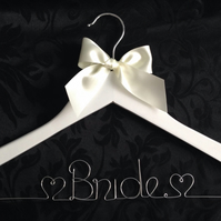 Personalised Wedding Gown Hanger - White
