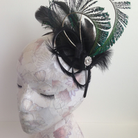 Black and Peacock Blue Fascinator