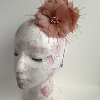 Latte Feather Flower Fascinator