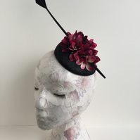 Black Beret Fascinator with Artificial Hydrangeas