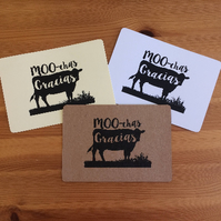 "Pack of 10 ""MOO-chas Gracias"" Thank you notecards & envelopes"