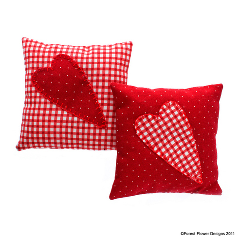 Cherry Picked Folk Heart Lavender Pillow set of 2
