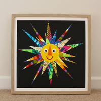 HERE COMES THE SUN III-LARGE FRAMED COLLAGE PICTURE