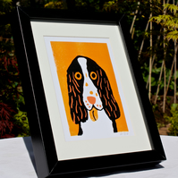 CUTE SPANIEL DOG LINOPRINTS-LIMITED EDITION-either black or wood effect frame