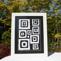 SQUARE PEG (A GEOMETRIC BLACK AND WHITE SCREEN PRINT)