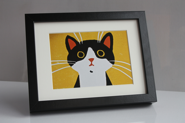 CUTE BLACK AND WHITE CAT- FRAMED GICLEE PRINT OF LINOCUT -FREE POSTAGE