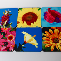 STUNNING SUMMER BLOOMS SIX COASTER SET