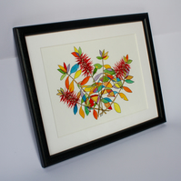 PEN AND WATERCOLOUR SKETCH OF BOTTLEBRUSH PLANT-FREE P&P
