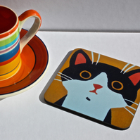BLACK AND WHITE CAT COASTER-SINGLE