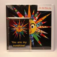 YOU ARE MY SUNSHINE VALENTINE'S CARD AND FRIDGE MAGNET GIFT