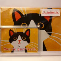 A PURRFECT CAT VALENTINE'S CARD AND MAGNET GIFT