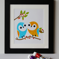 OWLS-LOVELY FRAMED OWL SCREENPRINT PICTURE