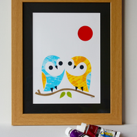 OWLS-CUTE FRAMED SCREENPRINT-FREE P&P IN UK