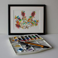 BOTTLEBRUSH PEN AND WATER-COLOUR SKETCH FRAMED IN BLACK
