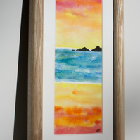 CORNISH SUNSET WATERCOLOUR IN ASH FRAME