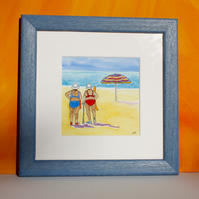 """TIME TO COOL OFF""-WATERCOLOUR SKETCH FRAMED IN BLUE WOODEN FRAME"